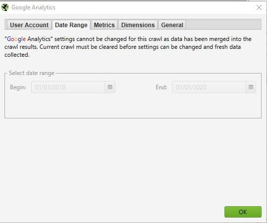 Google Analytics API Date Range
