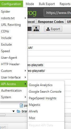 APIs on Screaming Frog