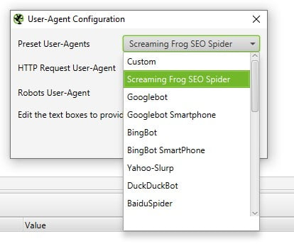 Screaming Frog User Agent Change
