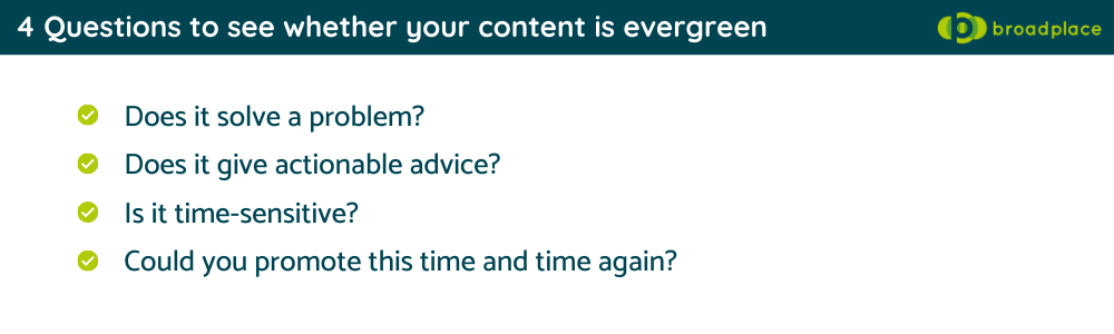 4 Questions to see whether your content is evergreen - checklist