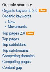 ahrefs organic keywords