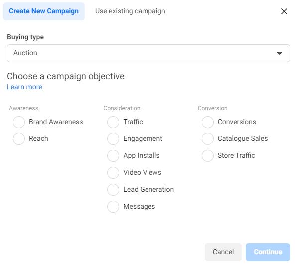 Facebook ads choose camaping objecitve