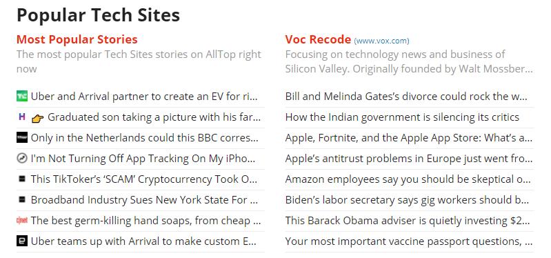 Screenshot of Alltop - Popular Tech Blogs